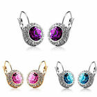 18K Rhinestone Crystal Moon River Earrings Ear Stud Clip 3 colours U pick 0350d