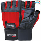 WEIGHT LIFTING GYM TRAINING GLOVES LONG VELCRO STRAPS COLOR RED & BLACK