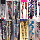 US SELL) NEW women sexy rock punk bodycon stretchy graffiti legging skinny pants