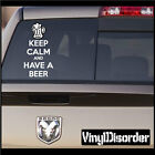Keep Calm and Have A Beer Vinyl Wall Decal or Car Sticker