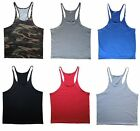 Mens Blank Stringer Gym Singlet Y-Back T-Back Bodybuilding Tank Muscle Fitness