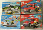 MY Building Bricks Police Helicopter / Rescue Boat / Fire Engine Brick sets