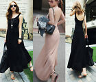 Women's Sexy Backless Maxi Long Dress Sleeveless Crew Neck Modal Cotton J&K