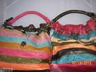 Striped Multi Color Bag with Braided Drawstring Soft  Shoulder Handle 2 Colors