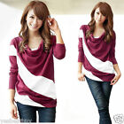 New Women's T-Shirt Batwing Sleeve Striped Color Block Tees Lady Tops Blouses