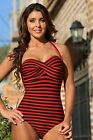 Sexy UjENA Striped Monroe Long Torso 1-PC Pin-Up Fashion Swimsuit XS-1X Z124