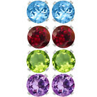 Amethyst Peridot Garnet Topaz Round Post With Friction Back Stud Earrings 4MM
