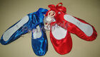 ballet/dance satin straight/full soles ribbon tie shoes slippers BLUE/RED