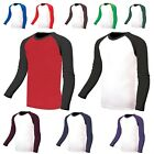 Long Sleeve Raglan Baseball Jersey tshirts Top Tee Casual Vintage Sports wear A