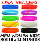 Внешний вид - Silicone Rubber Sport Wristband Cuff Bracelet Band Sz MEN WOMEN KID GLOW IN DARK