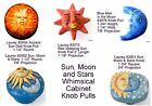 Whimsical Sun, Moon and Stars Cabinet Knobs from Laurey's Fantasia; Solid Resin