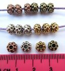 30 x tibetan silver style round bumpy spacer beads 6.5mm x 4mm MB8 choose colour