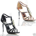 NEW WOMENS LADIES  HIGH HEEL EMBELLISHED ANKLE STRAP SANDALS SHOES SIZE 4 5 6 7