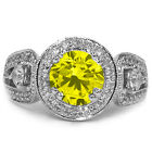 2.40 Ct Round Canary SI1/SI2 Diamond 18K White Gold Engagement Ring