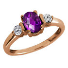 0.95 Ct Checkerboard Purple Amethyst and Diamond Gold Plated Silver Ring
