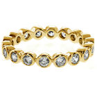 3.00 Ct Stackable Gold Plated White Cubic Zirconia CZ Eternity Wedding Band Ring