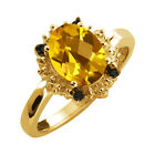 1.62 Ct Checkerboard Yellow Citrine and Diamond Yellow Gold Plated Silver Ring
