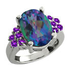 4.55 Ct Oval Millenium Blue Mystic Quartz Purple Amethyst Sterling Silver Ring
