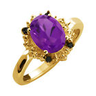 1.52 Ct Oval Purple Amethyst and Diamond Yellow Gold Plated Silver Ring