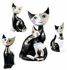 Rosina Wachtmeister Porcelain Black White Platinum Cat Cats Figurine Ornament