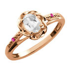 0.57 Ct Oval White Topaz Pink Sapphire Rose Gold Plated Sterling Silver Ring