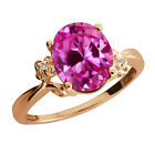 3.26 Ct Oval Pink Created Sapphire Topaz Rose Gold Plated 925 Silver Ring