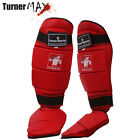 TurnerMAX shin instep leg foot pad boxing protector guard martial arts MMA Red