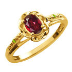 0.51 Ct Oval Ruby Red Mystic Topaz Green Peridot Gold Plated Silver Ring