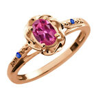 0.52 Ct Oval Pink Tourmaline Blue Sapphire Rose Gold Plated Sterling Silver Ring