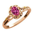 0.52 Ct Oval Pink Tourmaline Yellow Citrine Rose Gold Plated Silver Ring