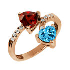 2.02 Ct Heart Shape Red Garnet and Topaz Gold Plated Sterling Silver Ring