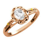 0.56 Ct Oval White Topaz Canary Diamond Rose Gold Plated Sterling Silver Ring
