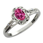 0.51 Ct Oval Pink Tourmaline White Diamond Sterling Silver Ring