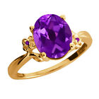 2.51 Ct Oval Purple Amethyst Yellow Gold Plated Sterling Silver Ring