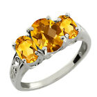 2.05 Ct Genuine Checkerboard Yellow Citrine Gemstone Sterling Silver Ring