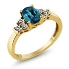0.75 Ct Oval London Blue Topaz White Diamond 925 Yellow Gold Plated Silver Ring