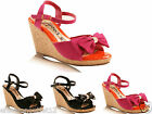 NEW WOMENS LADIES CORK WEDGE HEEL BOW TIE FRONT SANDALS SHOES SIZE 3 4 5 6 7 8