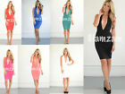 New Womens Ladies glam Plunge Backless Halterneck Towie Midi Party Bodycon Dress