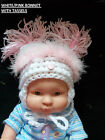 NEW BABY GIRL 0, 0-3 3-6 MTH WOOL HANDMADE WOOL MARABOU FEATHER BONNET HAT WARM