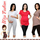 Comfortable maternity pregnancy crop cropped 3/4 leggings with belly panel