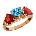 2.80 Ct Heart Shape Swiss Blue Topaz and Red Garnet Sterling Silver 3-Stone Ring
