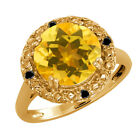 3.94 Ct Round Citrine and Diamond Gold Plated Sterling Silver Ring