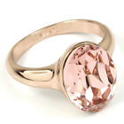 rose gold GP vintage rose swarovski crystal band Solitaire weding ring n339