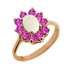 1.13 Ct Cabouchon White Opal Pink Sapphire Rose Gold Plated Sterling Silver Ring
