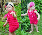 Newborn Infant Baby Girl Lace Posh Petti Ruffle Rompers TUTU 0-3Y with strap