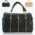 Tote Women Shoulder Stud Handbag Ladies Lace Retro Vintage Barrel PU Style Mix