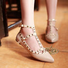 Women ladies rivet punk flats new court loafer shoes ankle strap T-bar FUF18