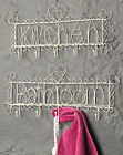 Kitchen / Bathroom Sign Hooks for Towels, Keys Cream Chic Vintage Shabby  NEW