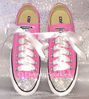 Customised Pink Crystal Diamante Bling Converse All Star Lo Ribbon Laces UK 4-6