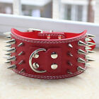 3inch Red Leather 4 Rows Spiked Studded Dog Collar Pitbull Large Dogs Collar